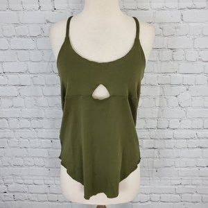 Chaser Olive Green Peek A Boo Tank Top M NWT